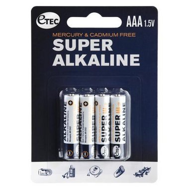 Etec - 4 Pack AAA 1.5V Super Alkaline Batteries