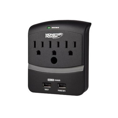 Monster - 3 Outlet Extreme Power 350 USB Wall Tap