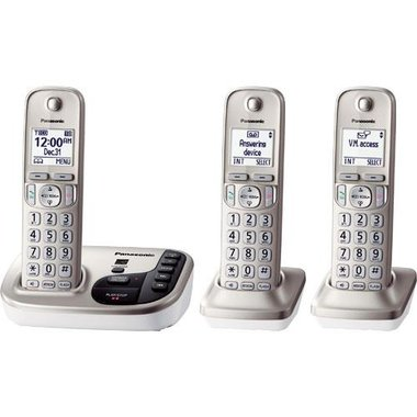 Panasonic - DECT 6.0 1.9GHz 3 Handset Cordless Phone With Digital Answering Machine