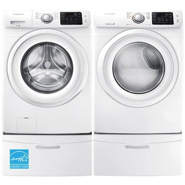 Samsung - 4.2 CuFt Front Load Washer With 7.5 CuFt Front Load Electric Dryer