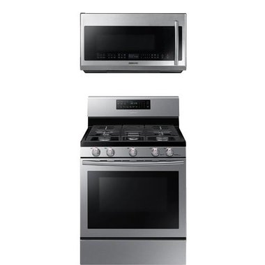 Samsung - 30 Freestanding Gas Range With 2.1 CuFt Over The Range Microwave