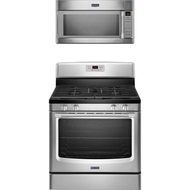 Maytag - 30 Freestanding Gas Range With 2.0 CuFt Over The Range Microwave