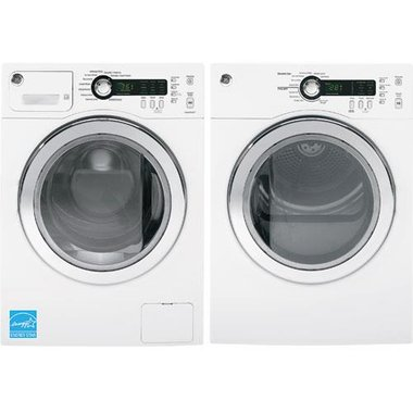 GE - 2.2 CuFt Front Load Washer With 4.0 CuFt Electric Dryer
