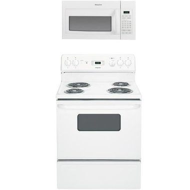 Hotpoint - 30 Electric Coil Range With 1.6 CuFt Over The Range Microwave