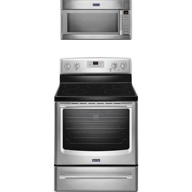 Maytag - 30 Electric Smooth Top Range With 2.0 CuFt Over The Range Microwave