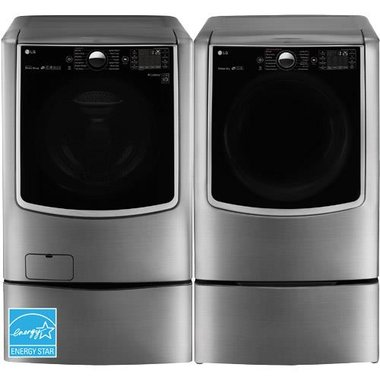 LG - 5.2 CuFt MEGA Capacity Front Load Washer With 9.0 CuFt Front Load Electric Dryer