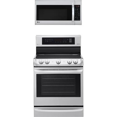 LG - 30 Electric Smooth Top Range With 2.0 CuFt Over The Range Microwave