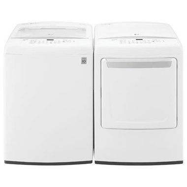 LG - 4.5 CuFt Top Load Washer With 7.3 CuFt Electric Dryer