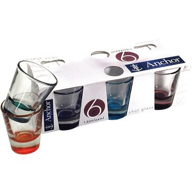 Anchor Hocking - 1.5 Oz Assorted Colors Shot Glass Set Of 6