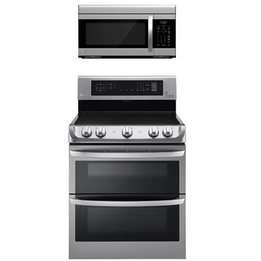 LG - 30 Electric Smooth Top Double Oven Range With 1.6 CuFt Over-The-Range Microwave