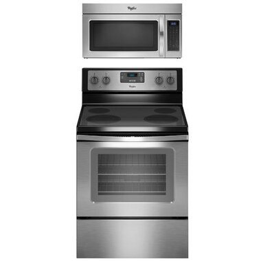 Whirlpool - 30 Electric Smooth Top Range With 1.7 CuFt Over The Range Microwave