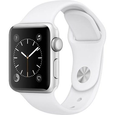 Apple - Series 2 38mm Silver Aluminum Case with White Sport Band