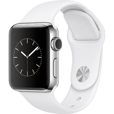 Apple - Series 2 38mm Silver Stainless Steel Case with White Sport Band