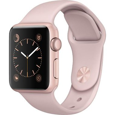 Apple - Series 1 38mm Rose Gold Aluminum Case With Pink Sand Sport Band