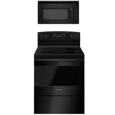 Amana - 30 Electric Smooth Top Range With 1.5 CuFt Over The Range Microwave