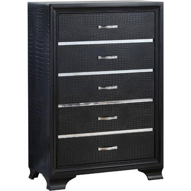 Global Furniture - Felix Chest In Black Finish With Metallic Accents