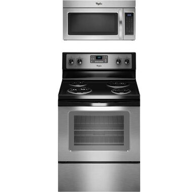 Whirlpool - 30 Electric Coil Range With 1.7 CuFt Over The Range Microwave