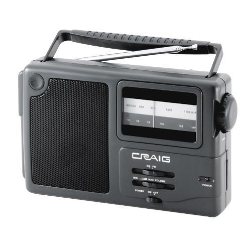 craig portable am fm radio with weather band cr4181w. Black Bedroom Furniture Sets. Home Design Ideas