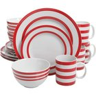 Gibson - Just Dine 16 Piece Bistro Edge Porcelain Dinnerware Set
