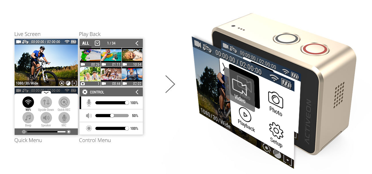 2.0″ Built-in Touch Screen &