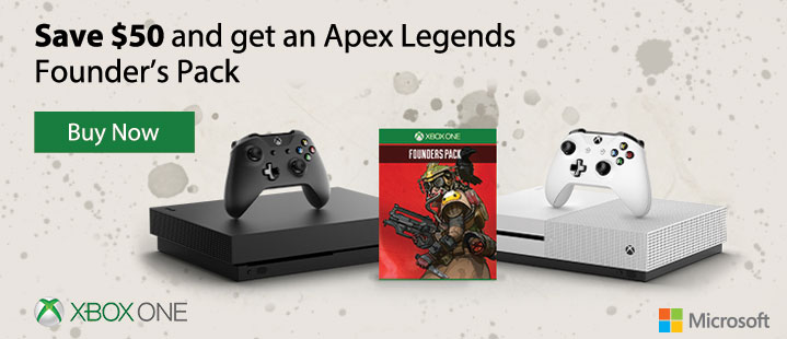 Xbox One. Save $50 and get an Apex Legends Founder's Pack. Buy Now.